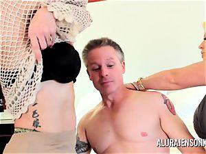 Alura Jenson milf 3 way screw with Brandi May