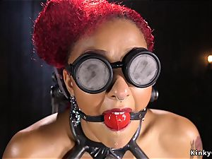 ebony slave gets toyed and pumping out