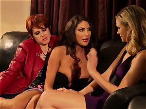 August Ames and Lily Cade string on sofa sex