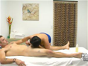 Hidden camera massage couch lovemaking