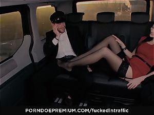 fucked IN TRAFFIC - Footjob and car hook-up with Tina Kay