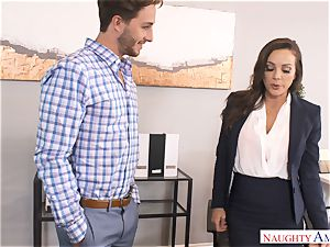 huge-boobed Abigail Mac drives strung up men spear into her moist cunny