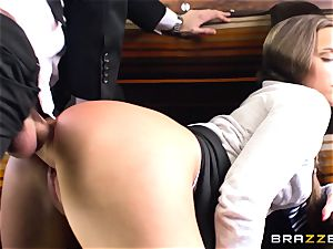 student Amirah Adara bangs a giant cocked stranger