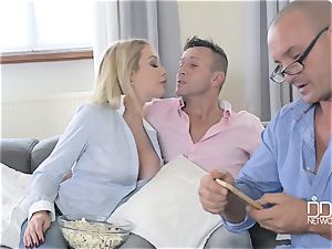 Drunken stud and his best pal plow his big-boobed filthy whore-wife Chessie Kay
