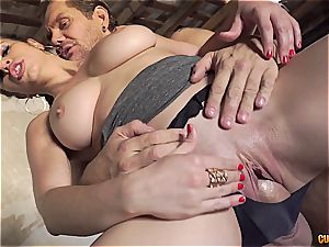 Nekane getting her giant caboose plowed