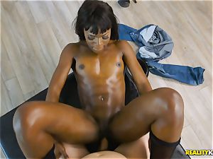 horny black hotty Ana Foxxx arrives as a cop and inserts the jizz-shotgun of Jessie in her minge