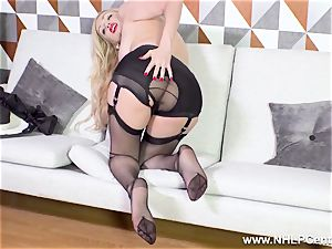spectacular cougar strips off ebony lingerie frigging in nylons