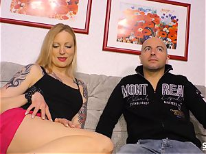 Sextape Germany - ash-blonde German new-comer deep-throats and porks
