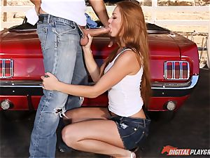stellar sandy-haired Farrah Flower banged up against a car