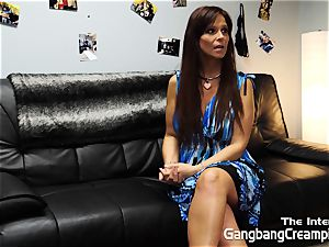 Syren De Mar interviewed and creampied by five studs
