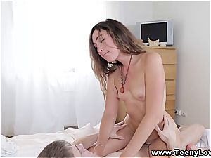 younger beauty enjoys the feel of spunk deep inwards her