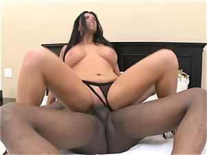 Romi Rain takes gigantic dark-hued hard-on in her raw crevice