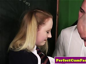 Facialized british schoolgirl inhaling dicks