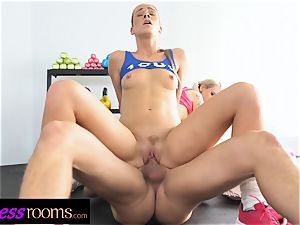 fitness apartments Gym educator three-way with 2 super-naughty honeys