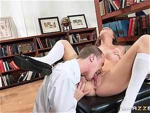 school stunner Alexis Adams tears up in the library