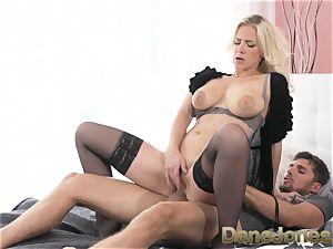 Dane Jones big titties platinum-blonde in tights and heels