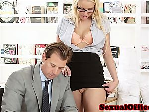 hottie secretary takes her manager' sausage for a ride