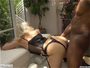dark-hued punishes naughty white maid Anikka Albrite