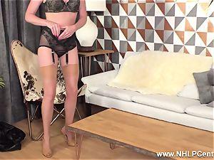 ash-blonde fingerblasting moist pussy in vintage nylons high heels