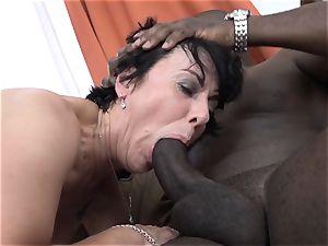 grannie three-ways with 2 ebony studs pulverize shafts in throat