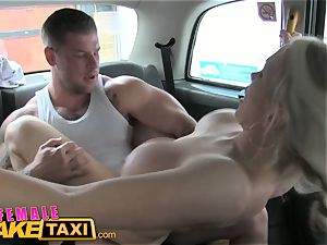 damsel faux cab huge-boobed breast jack makes guy cum hard