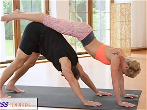 FitnessRooms perspiring bosom in a apartment utter yoga babes