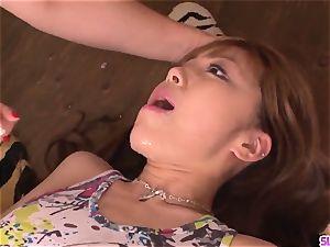 spectacular Anri Hoshizaki blow-job gang-bang hard-core