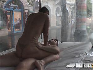 unbelievable Lia E luvs an softcore fuckfest massage in Public