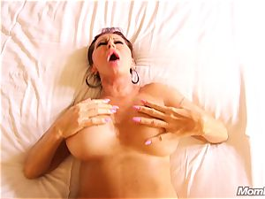 big-chested Russian GILF bursts all over cock