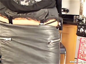 platinum-blonde cougar Lucy Zara in all leather playthings her moist muff