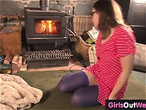 furry first-timer dark haired toys her bud at home
