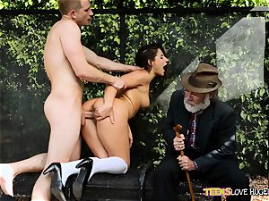 hilarious situation of puss tucked daughter-in-law and her grandfather witnesses at bus stop - Abella Danger and Bill Bailey