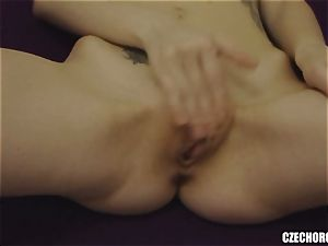 towheaded Czech girl Plays with cooter