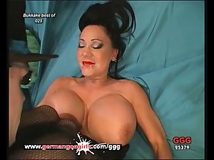 German mommy loves spunk on her Pretty face And phat tits