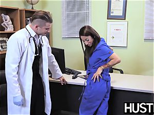 inviting nurse Stassi Sinclaire smashes in doctors office
