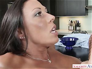 My brother's horny wife Rachel Starr saddles my knob