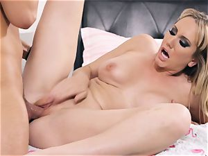 Brett Rossi takes some stiff penis sack deep in her cunny