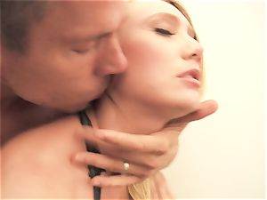 sensuous blonde AJ Applegate stiffed in the stairway