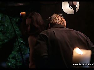 chesty celebrity Alyssa Milano kissing at a soiree, naked