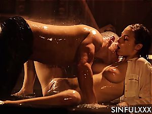 fuckin' a big-titted lovely while the water dribbles down her gentle skin