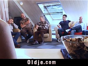 6 oldman humping in group a fantastic red-hot ash-blonde