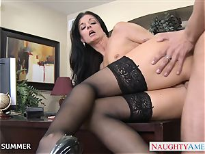 Stockinged India Summer poking on the desk