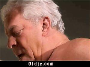 antique elderly Teenie dame screwed grey hair grandfathers
