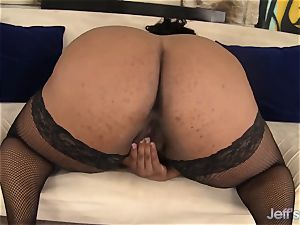 dark-hued plumper Marliese Morgan attempts lovemaking playthings