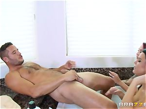 Maid Peta Jensen washes the cooch of Monique Alexander and gets cunt thrashed by Danny Mountain