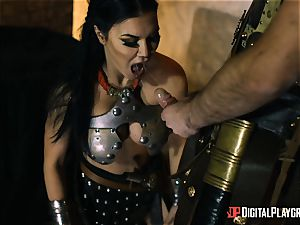 ultra-kinky warrior Jasmine Jae anal invasion bashed by a gladiator