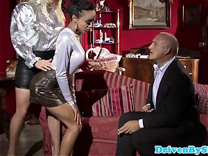 Bigtitted call girls jizz-swapping after triosex