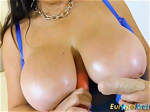 EuropeMaturE busty Mature Lulu round and enormous milk cans