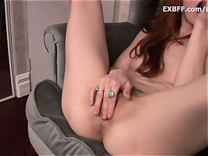 fur covered red-haired dumps after powerful self screwing scene