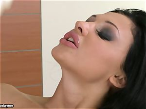 Aletta Ocean thumps her impressive thumbs deep in her sweet smooth-shaven snatch